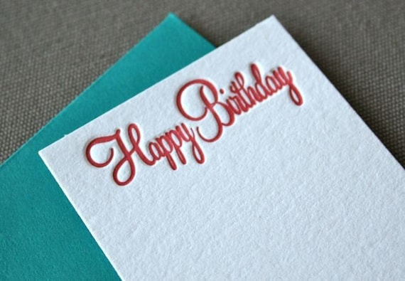 Happy Birthday Letterpress Enclosure Card