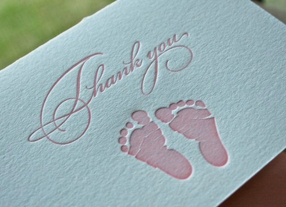 Baby Girl Thank You Letterpress Card