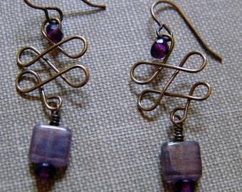 Celtic Inspired Brass Earrings