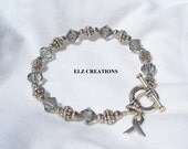 Reserved for Shelby Reece - BRAIN Cancer Bracelet - GREY Swarovski Crystal & Sterling Silver