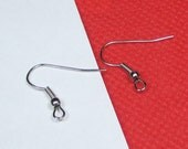 Earring Hooks,200pcs Silver Plated Earwire with Coil Earring findings 22mm