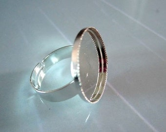 Silver Ring, 25pcs Silver metal Ring blanks, Adjustable ring with  20mm Round Pad tray