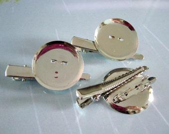 100 pcs Silver brooch cabochon base, Metal brooch back Hair Clip Pin, Round tray brooch 29mm