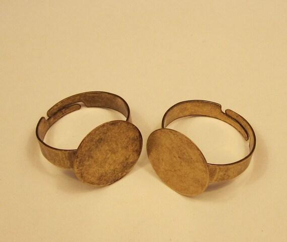 Antique Bronze Ring--20Pcs 15mm Adjustable Antique Bronze Ring Base