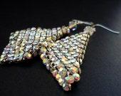 Swarovski crystal mesh and sterling silver drape earrings.