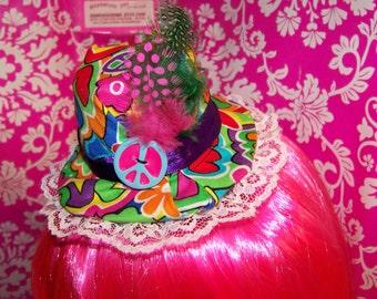 Colorful Hippie - Mini top hat - Love - Lace - Corsage - Clip