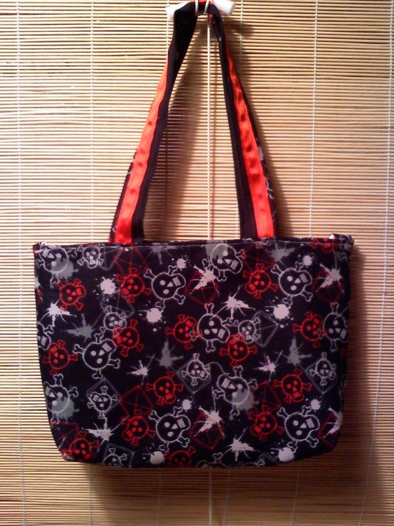 ON SALE - Fabric bags - Skulls - Black and red - Jolly roger - Girls