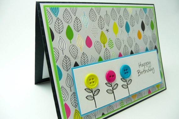 Colorful Birthday Card for Her, Colorful Flowers and Leaves Birthday Card, Handmade Paper Greeting Card
