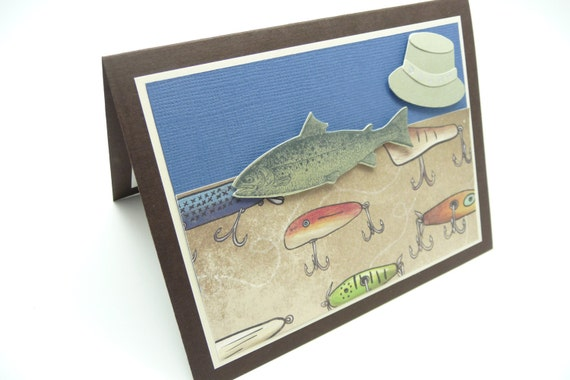 Men's Birthday Day Greeting Card, Fishing Birthday Day Card, Card for Him, Handmade Paper Greeting Card