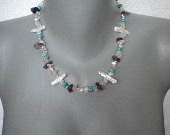 Gem Stones Pearls Shell Turquoise Necklace