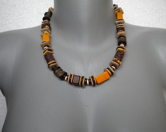 Sale 20% off Unisex Autumn Colors Ceramic and Brass Beads Necklace
