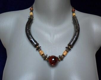 Sale 20% off Designer Ceramic and Brass Components Necklace