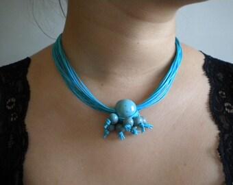 Blue Sky Ceramic Beads Necklace