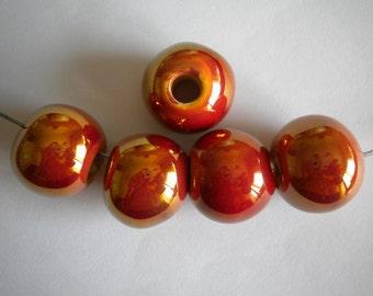 Glazed Ceramic Balls Beads  3pcs