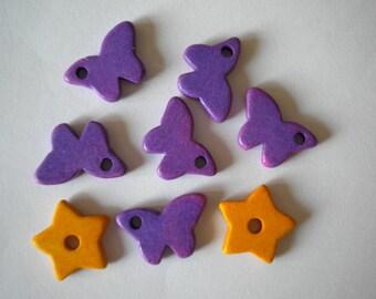 3pcs Butterfly and Stars Mykonos Greek Ceramic Beads