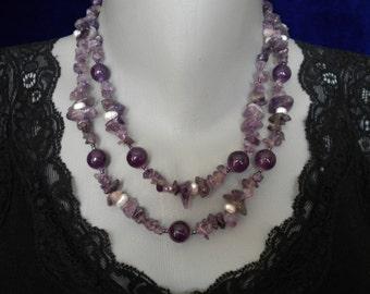Sale 20% off Amethyst Gem stones Pearls Long Necklace
