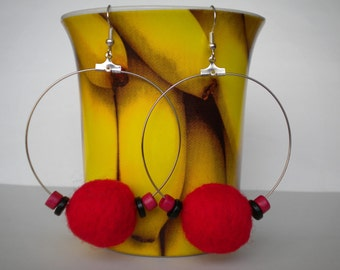 Sale 20%off Red Felt Balls and Ceramic Beads Earrings