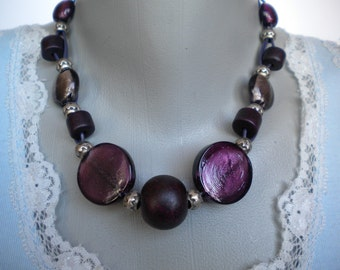 Purple Glass and Ceramic Beads Silver Plated Beads Leather Necklace and Earrings