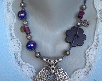 Silver Plated Pendant Black Ceramic Flower Glazed Ceramic  Beads Leather Necklace