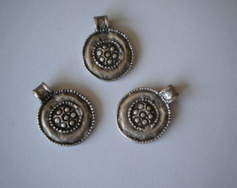 Pendant Silver Plated Metal Antique Pewter Etched Coins  3 pcs