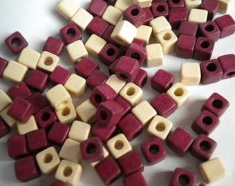 20 psc Mykonos Greek Ceramic Cube Beads - 5x5 mm Ivory Burgundy