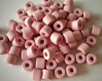 15pcs Greek Mykonos Ceramic Beads 8x7mm in light pink