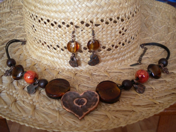 Copper Heart Glazed Ceramic Glass Beads Leather Necklace and Earrings Set