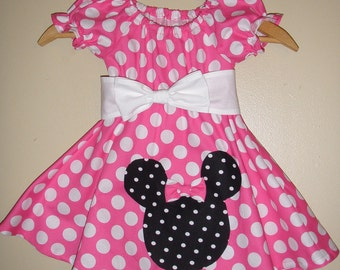 Minnie Mouse dress with applique  pink  polka dot dress(available in sizes 1t to 4t