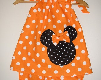 Minnie Mouse Orange   polka dot Swing dress&matching panty (available in sizes 12 month,18 month  ,2t,3t,4t,5t,