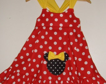 Appliqued Minnie Mouse RED  polka Knot dress  1 thru 4