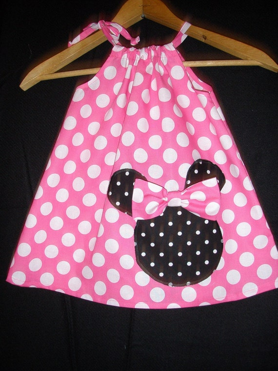 Minnie Mouse pink  polka dot Swing dress(available in sizes 5, 6, 7 and 8)