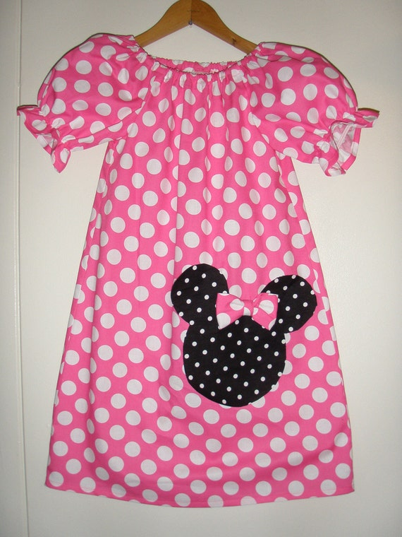 Minnie's dress Pink polka dots peasant dress  available in size 5, 6,