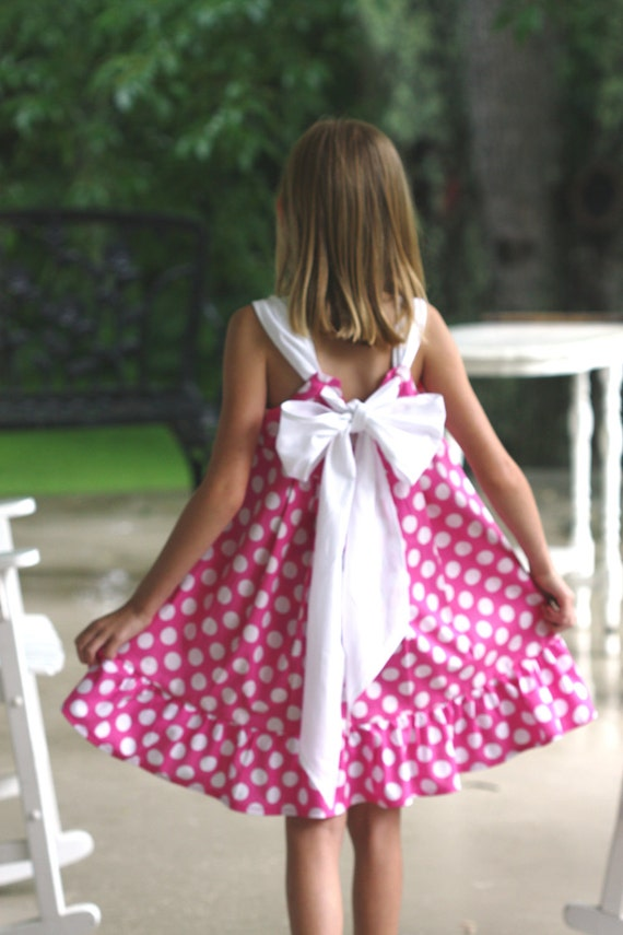 Minnie Mouse pink  polka Knot dress  5 or 6
