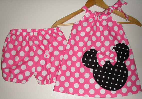 Minnie Mouse pink  polka dot Swing dress&matching panty (available in sizes 1 to 4)