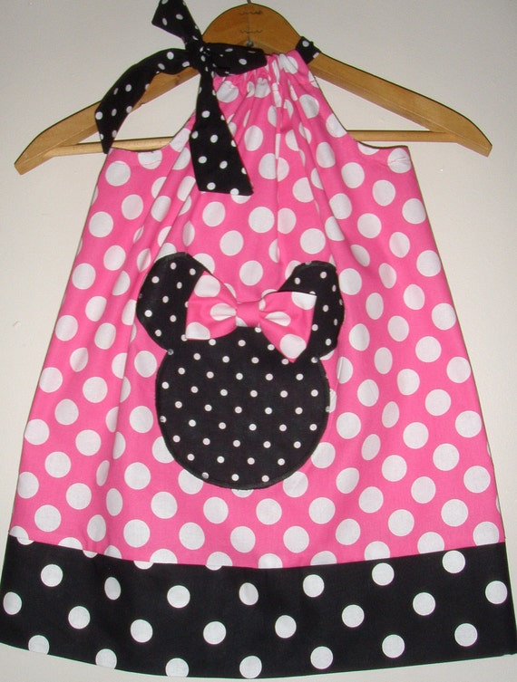 Minnie pink polka dots pillowcase dress with applique  sizes 5, 6, 7, 8