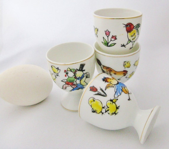 Set of 4 Colorful Vintage Made in Japan Egg Cups