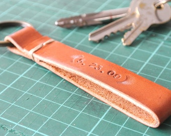 Personalized Leather KeyChain Hand-stitched/ stamped (thick leather version)