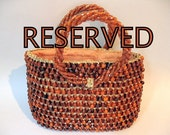 Orange and Gold Beaded Woven  Purse