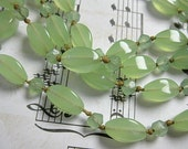 Green Glass Bead Deco Necklace. Hand Knotted