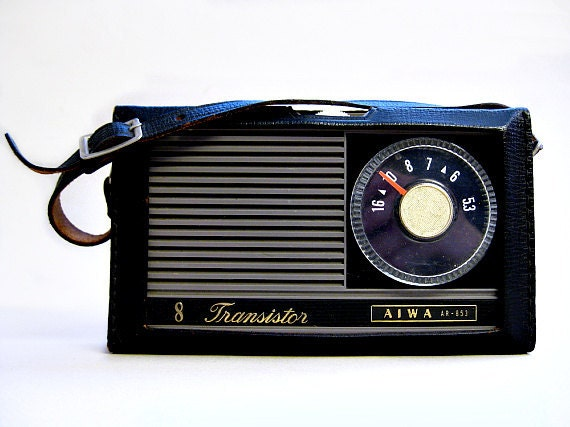 Aiwa Transistor Radio in Black Leather Case, 1964, Mad Men