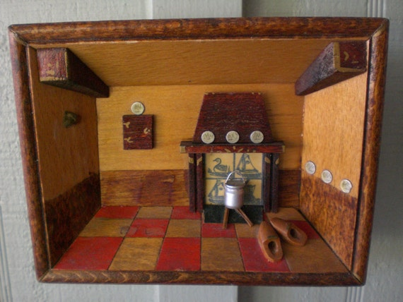 Kitchen Diorama Made Of Cereal Box: 1/2 Price Vintage Tiny Diorama Shadow Box Shrine By