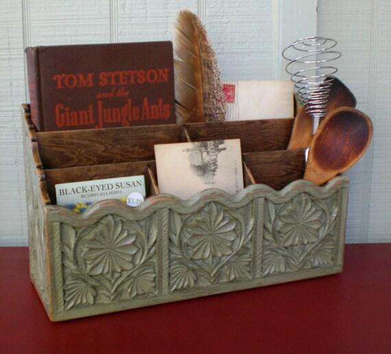 Primitive Mail Organizer Desk Kitchen Office Counter Faux Wood