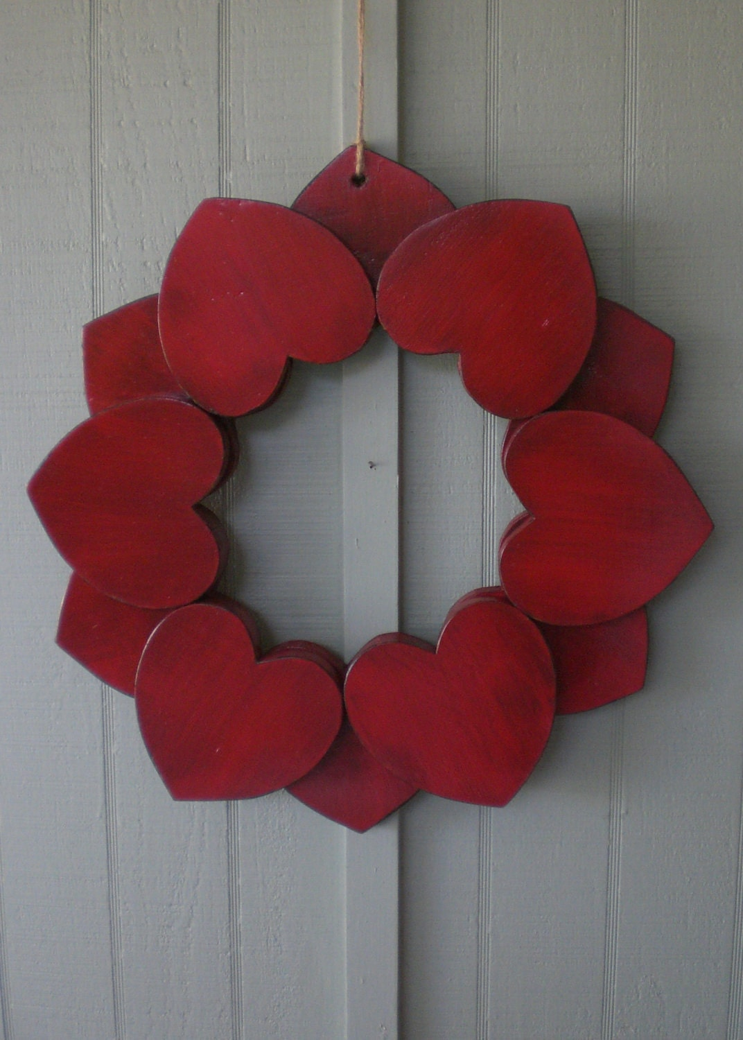Big primitive red wooden heart wreath indoor outdoor wood for Wooden hearts for crafts