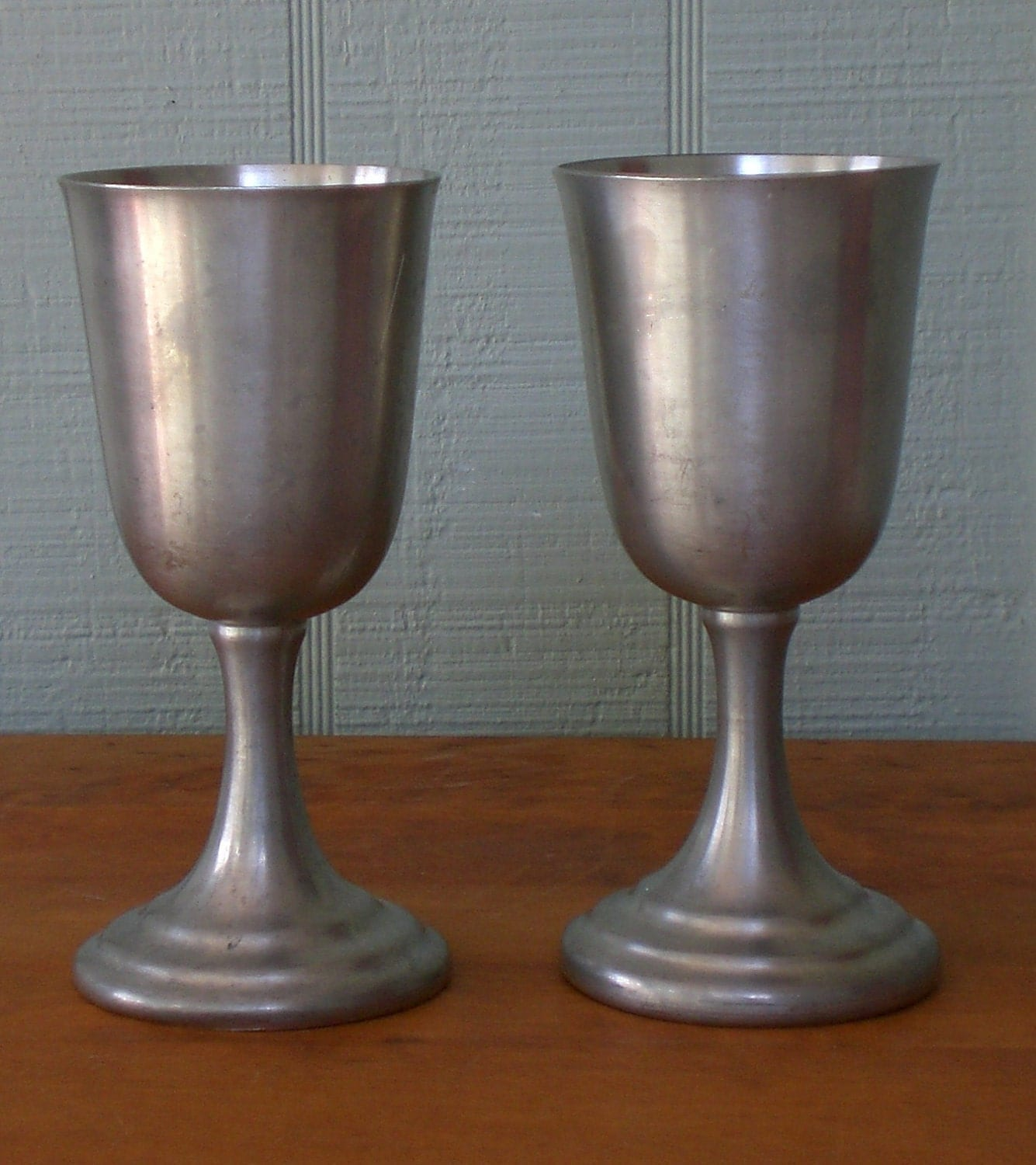 Vintage Set 2 Primitive Pewter Goblets Chalice By