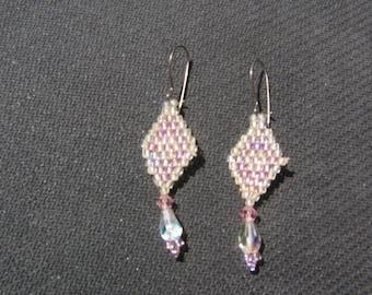 Beaded white and light pink earrings