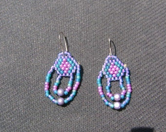 purple and turquoise beaded earrings