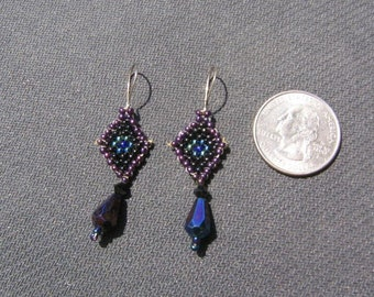purple black beaded earrings