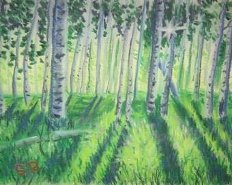 Nature Scene Forest, pastel
