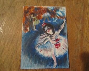 Mini Masterpiece,- ACEO art trading card - Original artwork, Edgar Degas, Ballerina's(not a print)