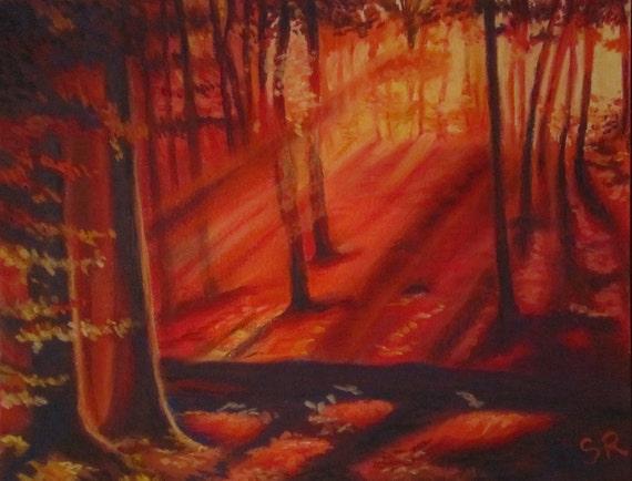Original painting, forest sunset, pastel